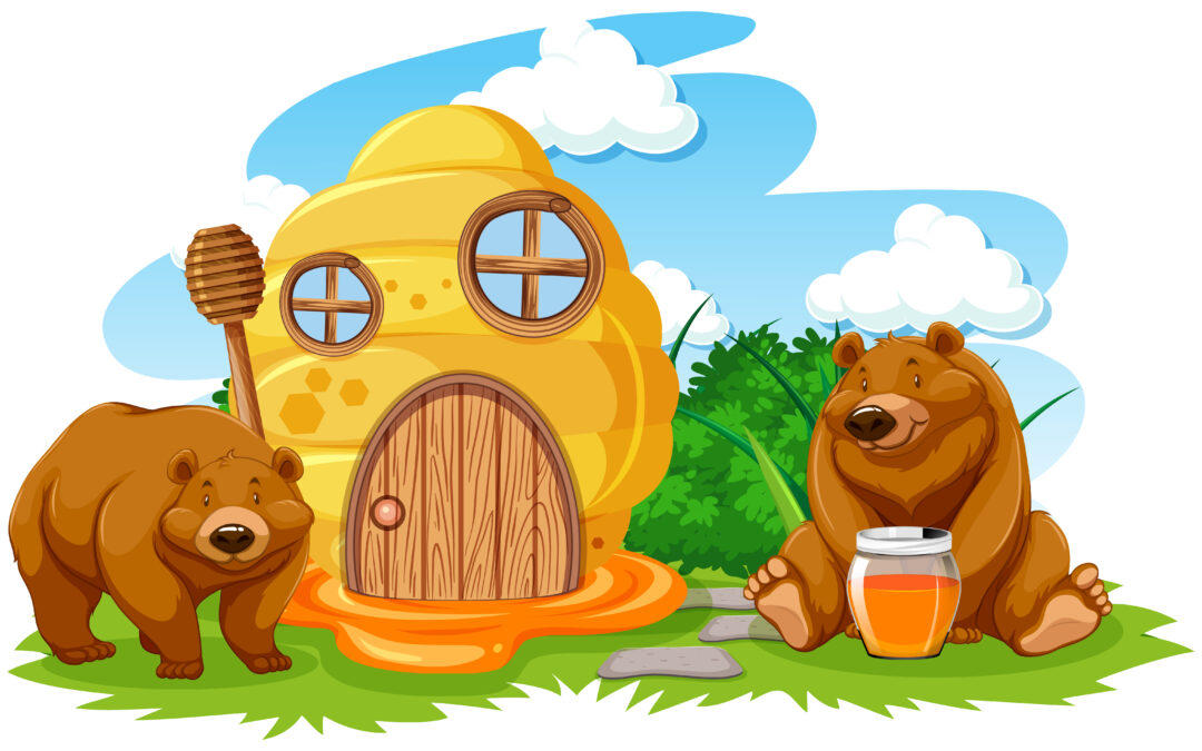 Honeycomb house with two bears cartoon style on white background illustration