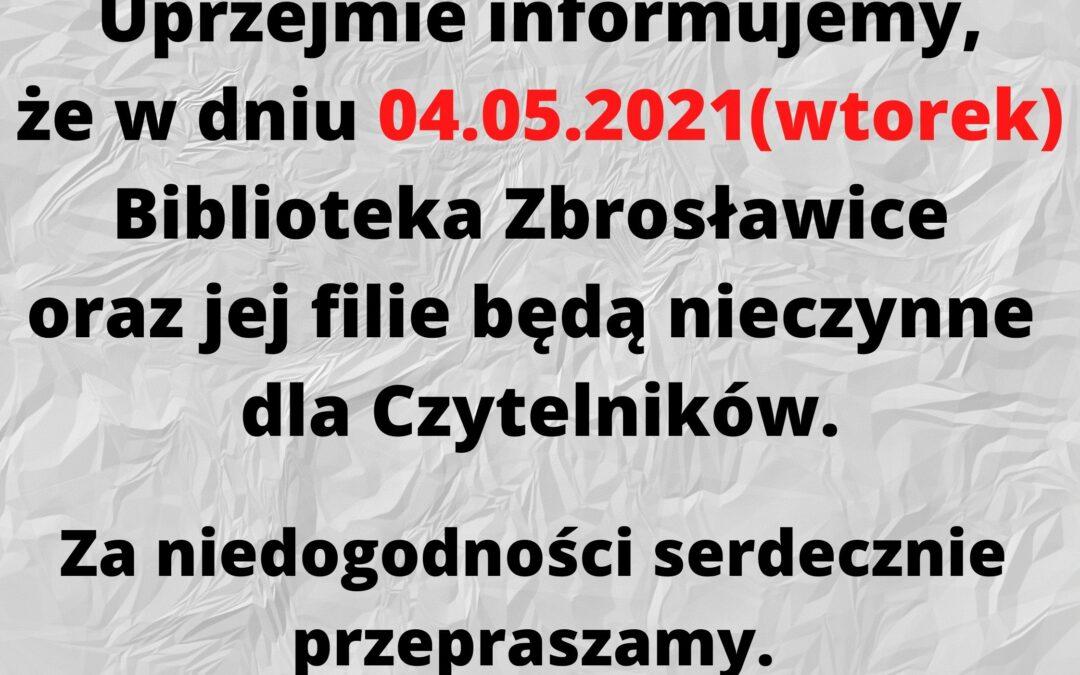 Uprzejmie informujemy, że w dniu 08.04.2021 Biblioteka Zbrosławice będzie nieczynna dla Czytelników. (1)